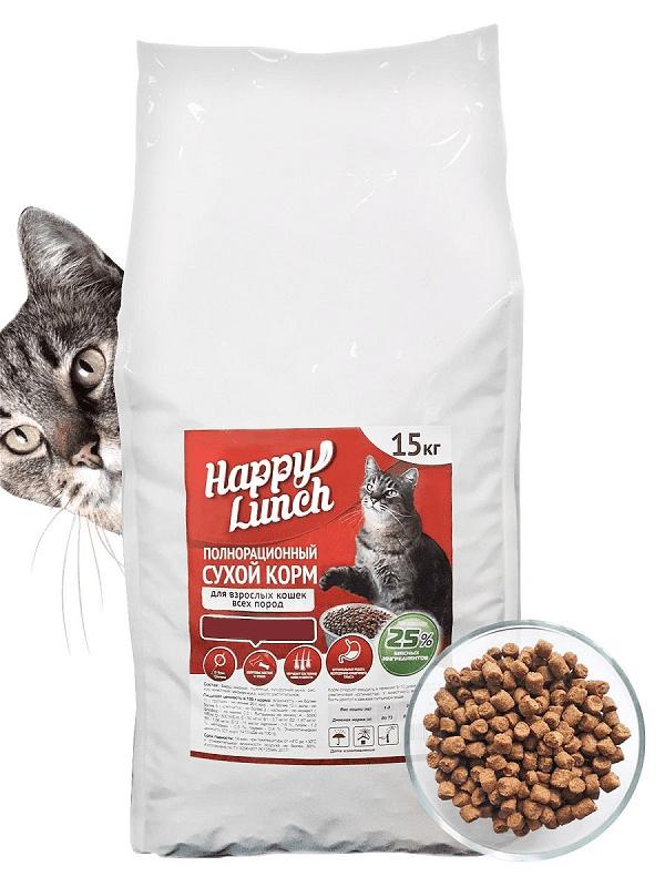 Купить сухой корм для кошек всех пород Happy Lunch/Хэппи ланч со вкусом курицы, в магазине Makpets