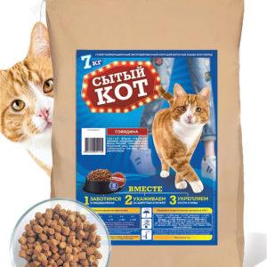 Купить корм для кошек всех пород «Сытый кот» в магазине Makpets
