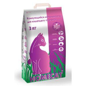 Наполнитель для кошачьего туалета комкующийся HOMECAT, 3 кг.