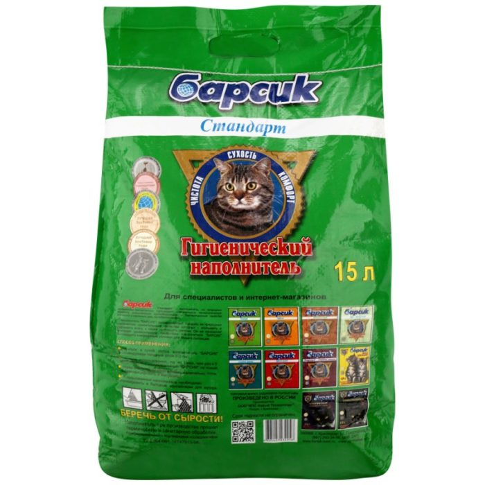 Наполнитель для кошачьего туалета впитывающий Барсик Стандарт, 3 кг.