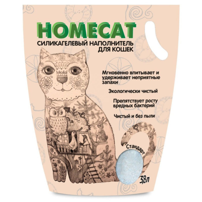 Наполнитель для кошачьего туалета силикагелевый HOMECAT без запаха, 3,8 л,