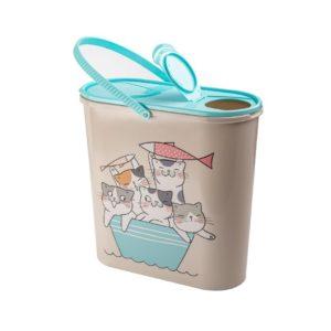 Контейнер для корма Мур-Мяу светло-серый, 6 л