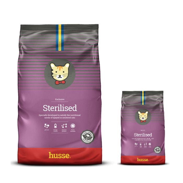 Купить корм для кошек HUSSE EXCLUSIVE KATT STERILISED в магазине Makpets промо набор